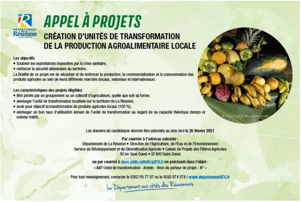 Appel à projets Création d'unités de transformation de la production agroalimentaire locale.