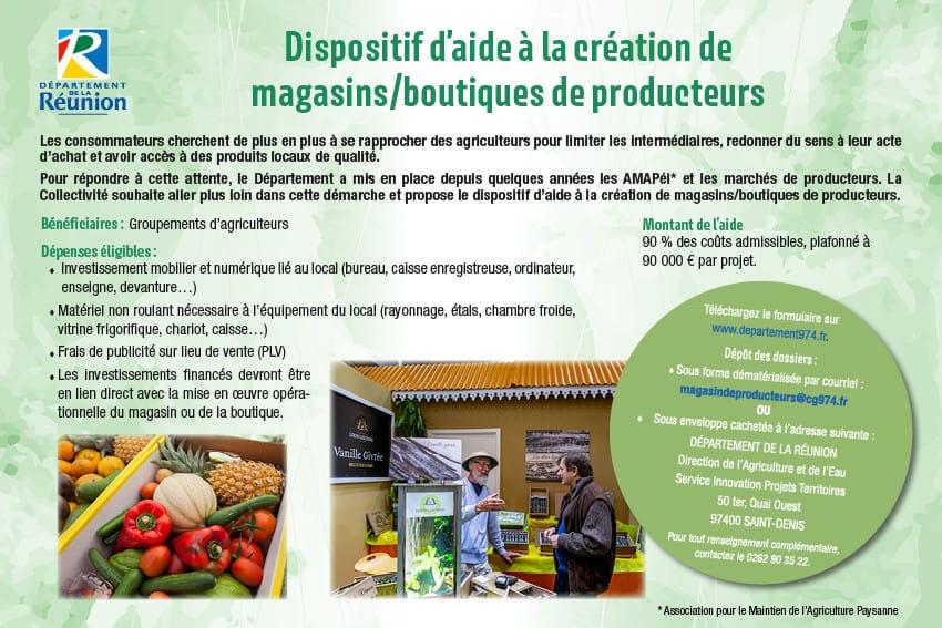Appel à projets : dispositif d'aide à la création de magasins/boutiques de producteurs 2020-2021
